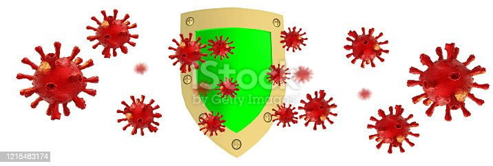 coronavirus virus covid-19  protect protection shield  green - 3d rendering