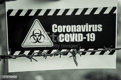91708255 istock photo Coronavirus warning sign 1215750403