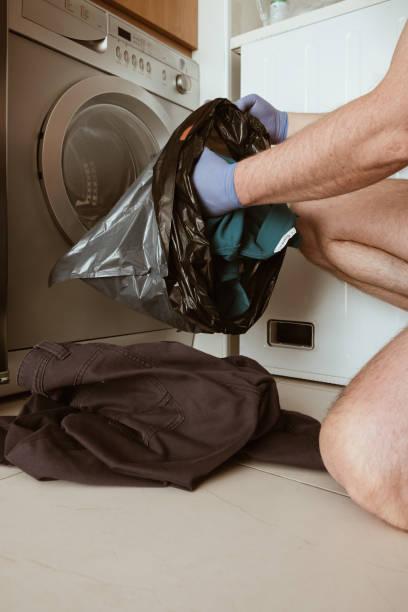 Coronavirus. Washing clothes. stock photo
