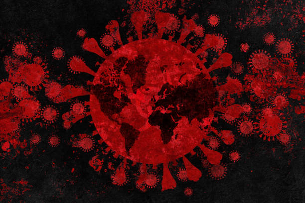 Coronavirus with biohazard symbol, world map in the background stock photo