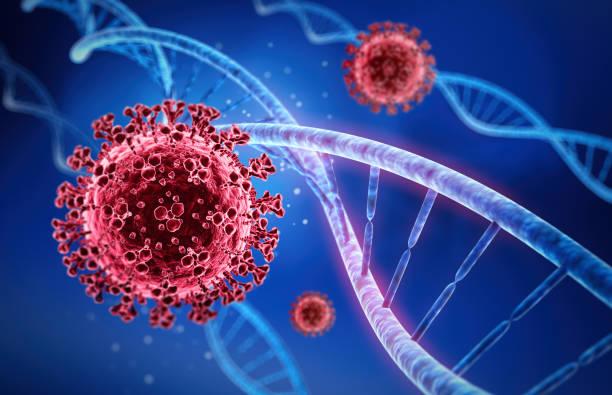 Coronavirus with DNA illustration stock photo
