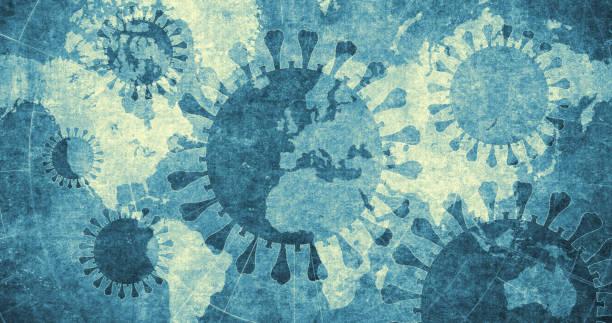 Coronavirus with world map in the background stock photo