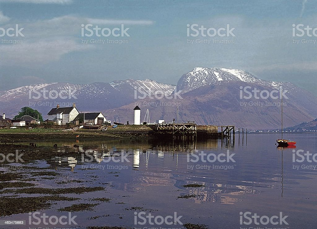 Corpach Harbour and Ben Nevis stock photo