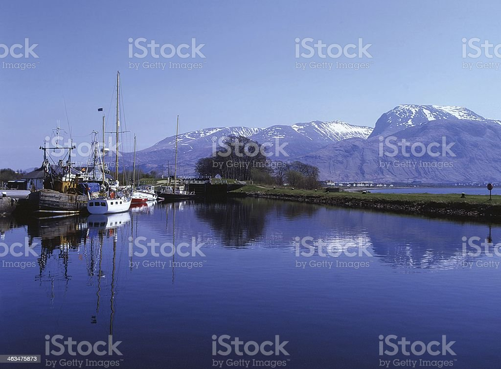 Corpach Harbour to Ben Nevis, Lochaber stock photo