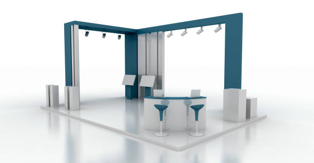 Corporate booth, blue color, isolated on white, with copy space. Original 3d rendering stock photo