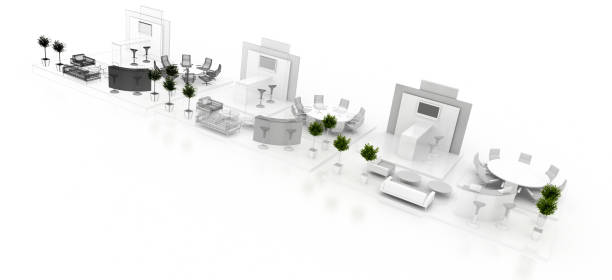 Corporate booth, isolated on white, with copy space. Original 3d rendering stock photo