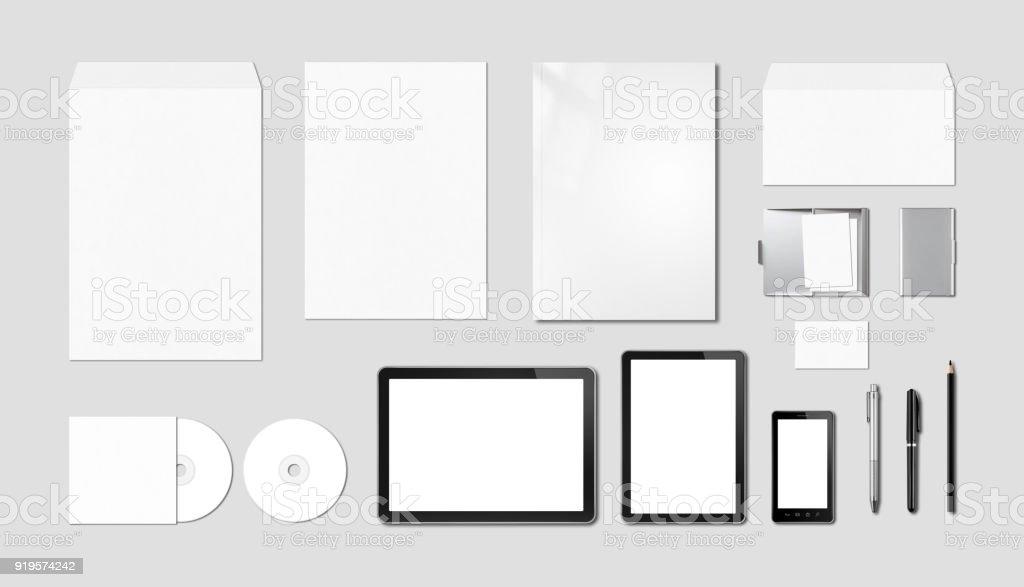 Corporate branding mockup template, grey background royalty-free stock photo
