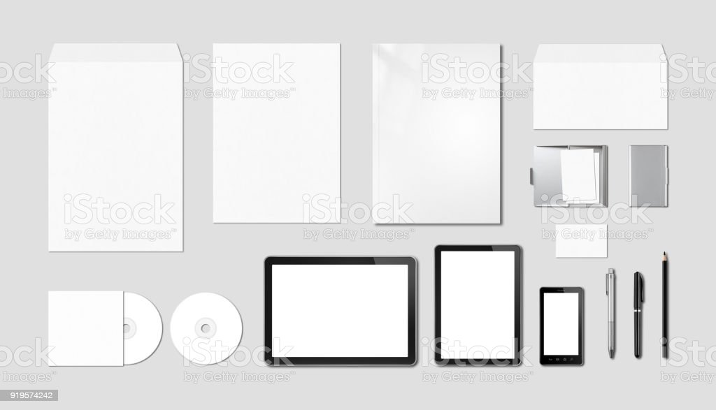 Corporate branding mockup template, grey background stock photo