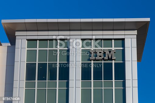 COLUMBIA, SC/USA - JUNE 4, 2018: IBM corporate building and trademark logo. IBM is an American multinational technology company.