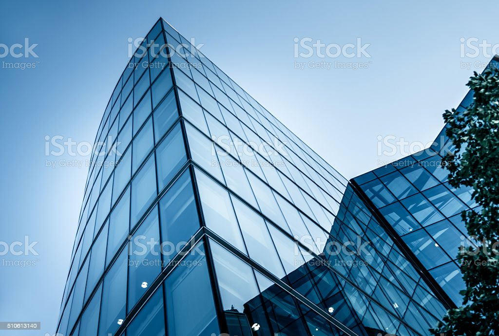 corporate building in financial district stock photo