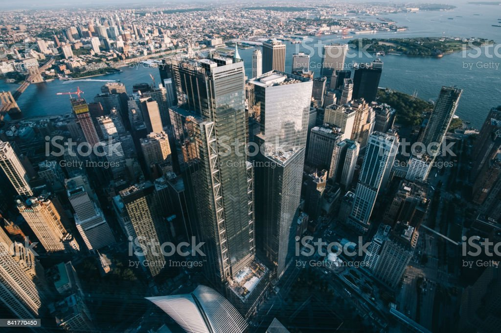 Corporate Building in Manhattan view of One World Trade Center stock photo