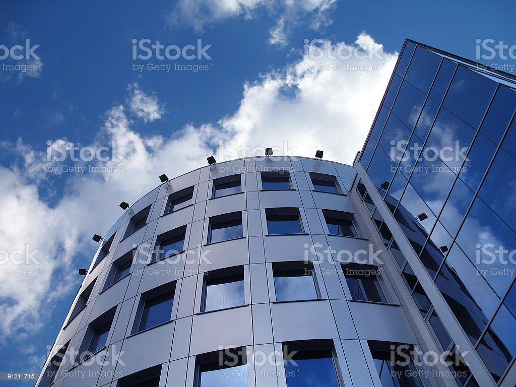 Corporate building on the blue sky royalty-free stock photo