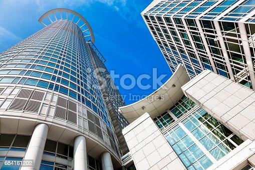 istock Corporate Buildings Against Blue Sky in Financial District, Frankfurt, Germany 684161202
