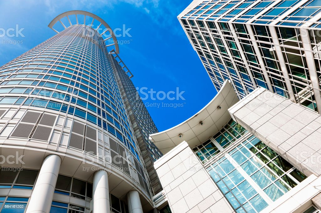Corporate Buildings Against Blue Sky in Financial District, Frankfurt, Germany stock photo