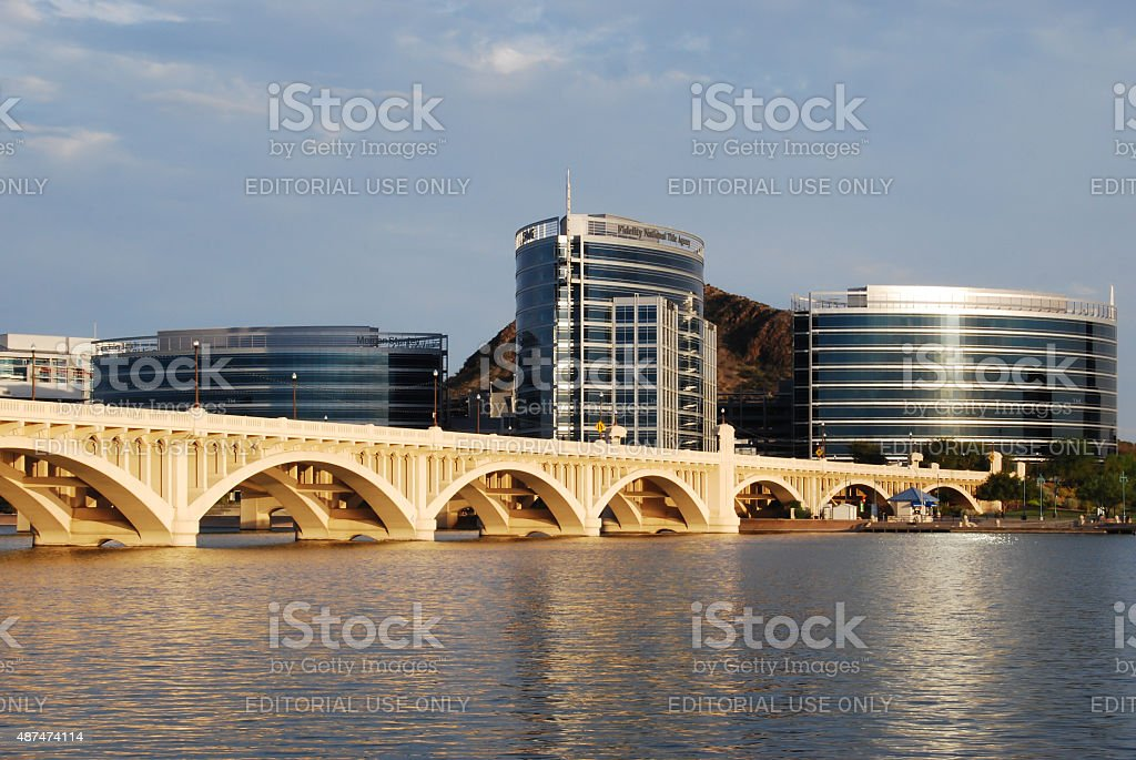 Corporate buildings at the lake stock photo