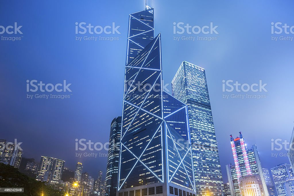 Corporate buildings in Hong Kong at night stock photo