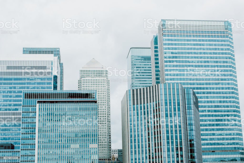 Corporate Buildings. London modern skyscrapers. Cityscape stock photo