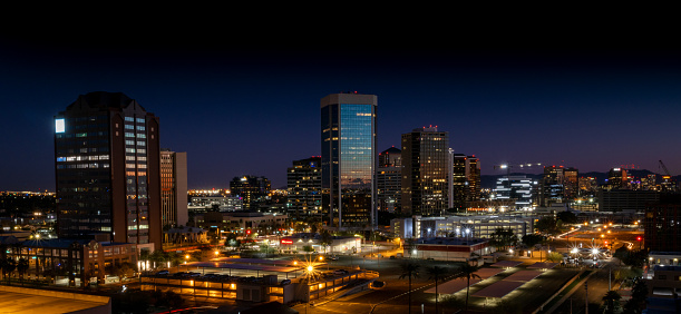 Night skyline on Central Avenue from Midtown Phoenix view