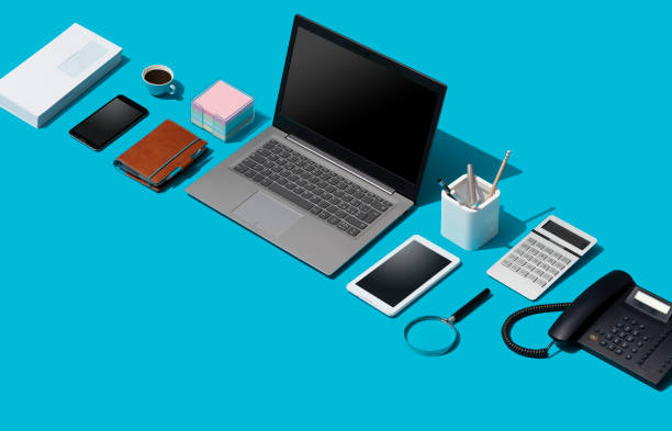 corporate business desktop with laptop - advertising isometric stock pictures, royalty-free photos & images