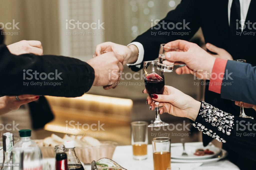 Corporate Business Man Toasting At Dinner Party Table Hands Closeup