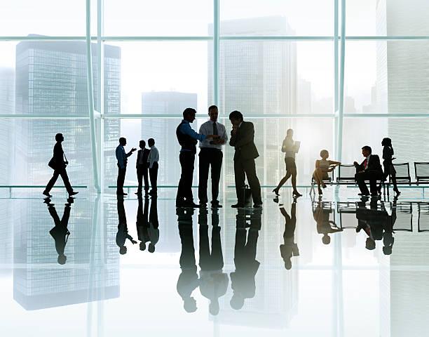 corporate business meeting in a building - fönsterrad bildbanksfoton och bilder