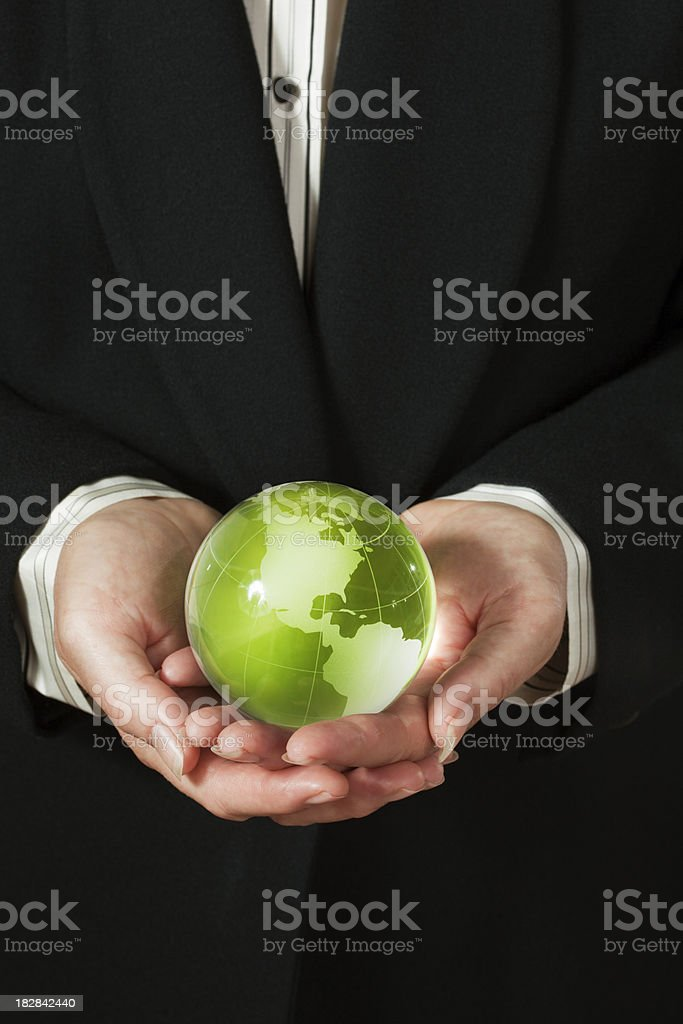 Corporate Business Person Holding Earth Friendly Green World Globe—Americas royalty-free stock photo