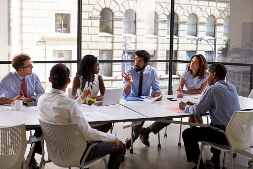Corporate Business Team And Manager In A Meeting Close Up Stock Photo - Download Image Now