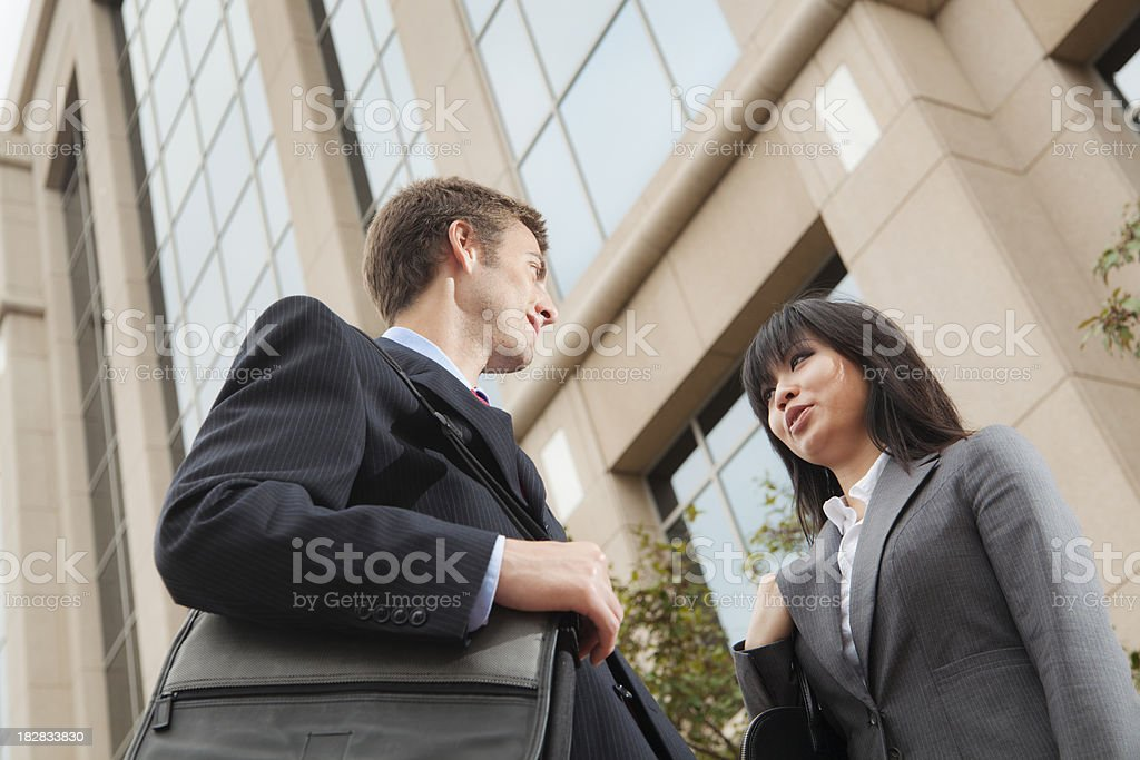 Corporate Business Workers Outdoor Talking Outside Office Building royalty-free stock photo