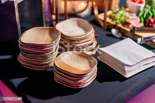 Eco environmentally friendly palm leaf plates made from natural sustainable leaves. Biodegradable alternative to paper, bamboo, plastic, or wood plates. Recyclable, reusable, and disposable.