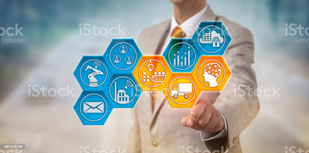 Corporate Executive Monitoring Supply Chain stock photo
