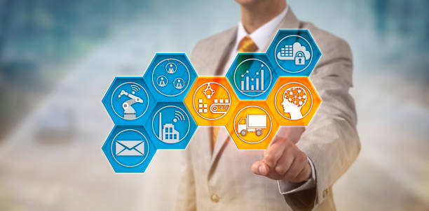 corporate executive monitoring supply chain - transportation icons stock photos and pictures