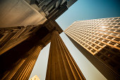 Business and financial district in a city with pillars