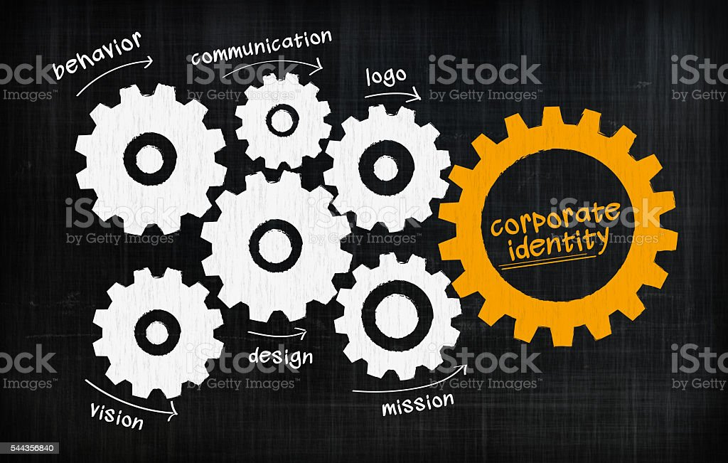 Corporate identity gears stock photo