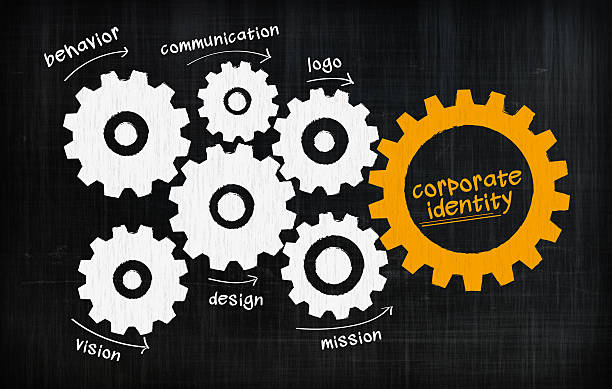 corporate identity gears - logo design stock photos and pictures