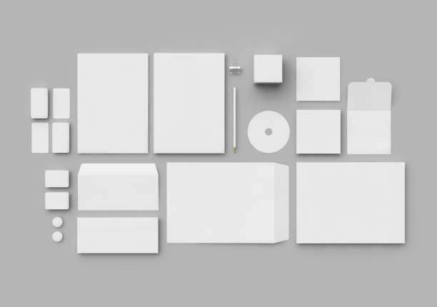 Corporate Identity Set Blank Template, Top view office equipment stock pictures, royalty-free photos & images