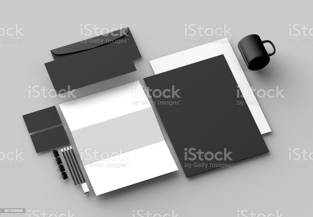 Corporate identity stationery mock up isolated on gray background. 3D illustrating stock photo
