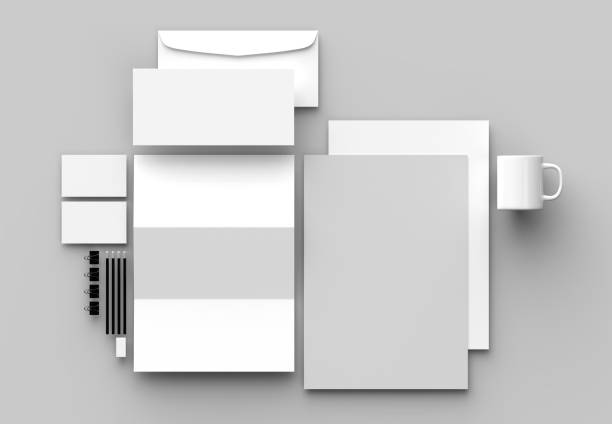 corporate identity stationery mock up isolated on gray background. 3d illustrating - nieruchomy zdjęcia i obrazy z banku zdjęć