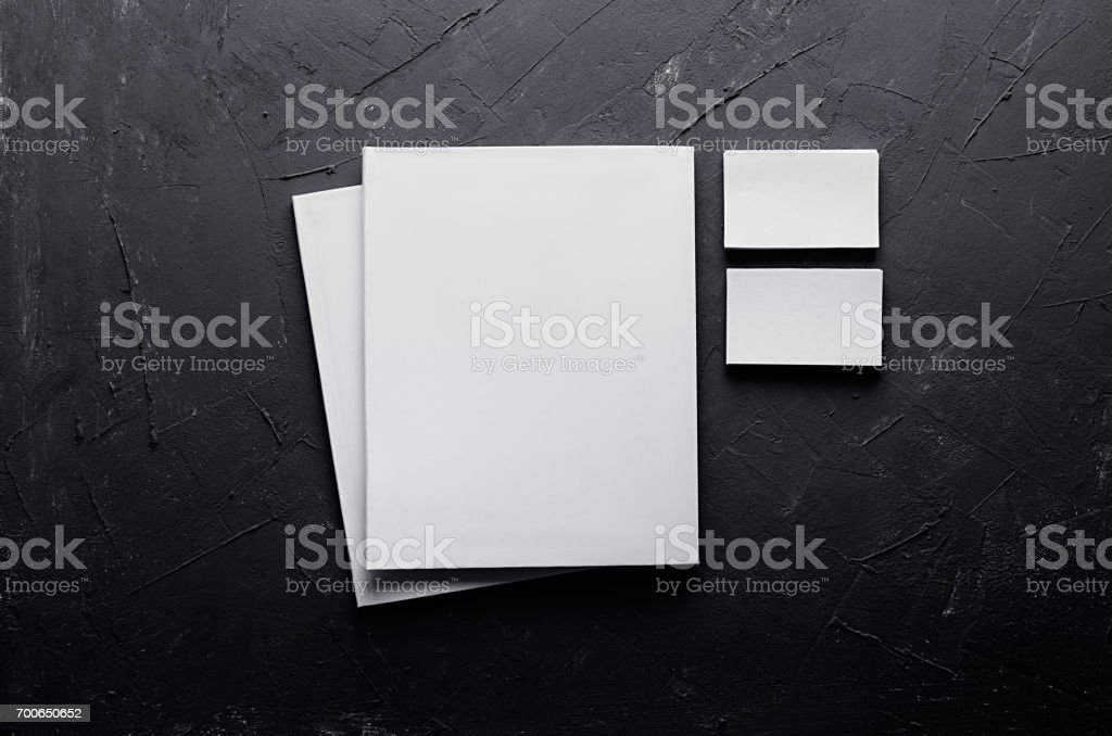 Corporate identity template, stationery on dark grey concrete texture. Mock up for branding, graphic designers presentations and portfolios. stock photo