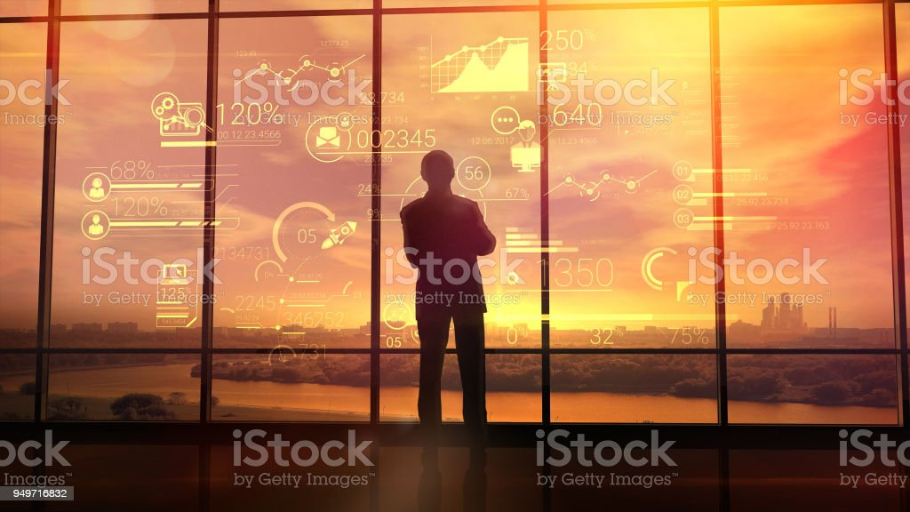 Corporate infographics and men in the office foto stock royalty-free