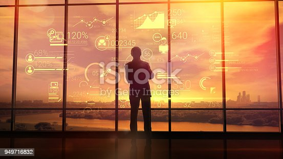 istock Corporate infographics and men in the office 949716832