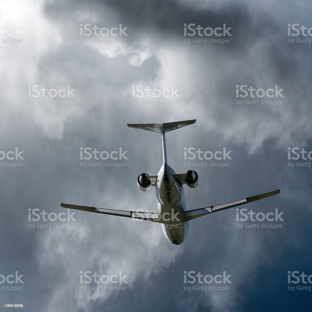 XXL corporate jet airplane taking off in storm royalty-free stock photo