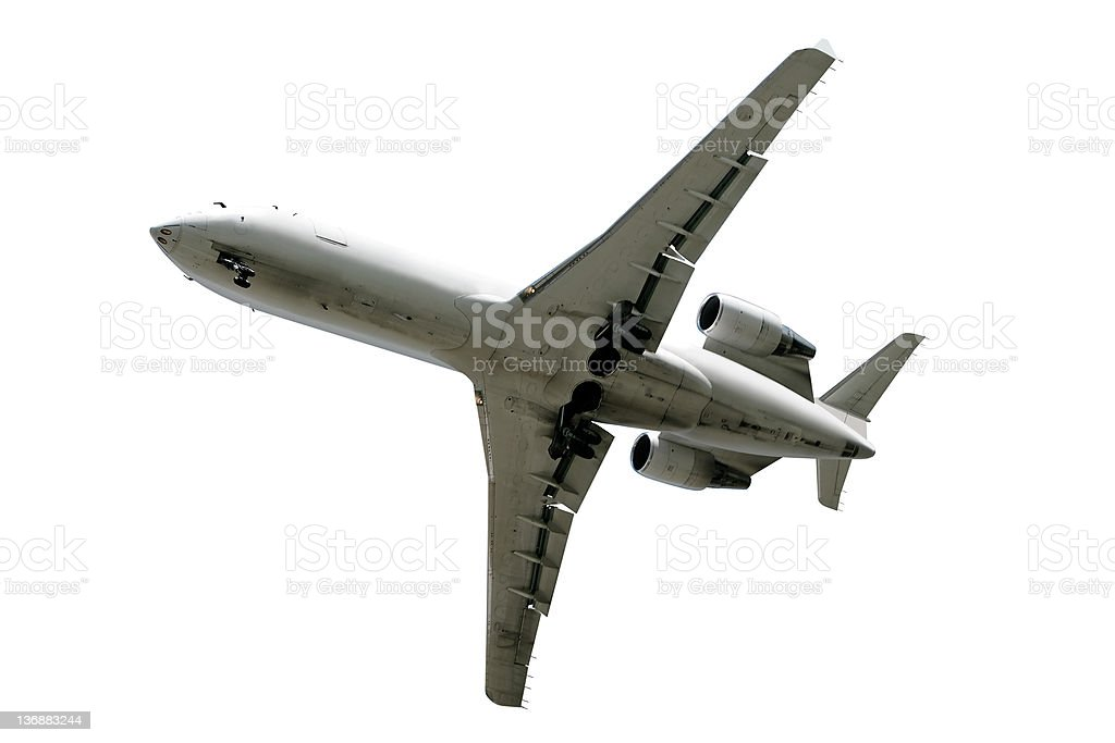 corporate jet airplane taking off stock photo
