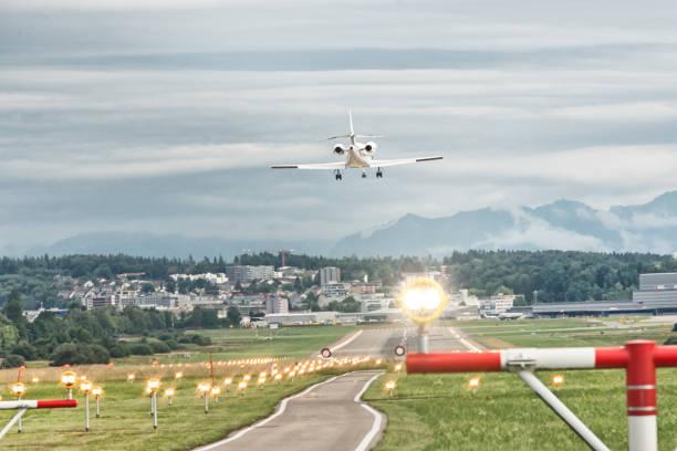 Corporate jet landing at Zurich airport Switzerland stock photo