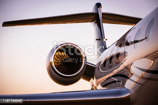 Corporate Jet at sunset