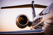 Corporate Jet at sunset