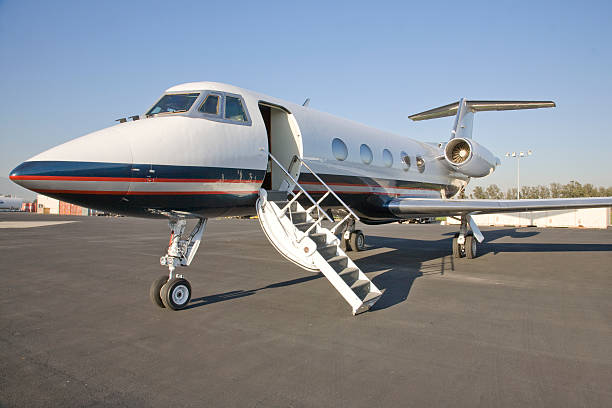 Corporate Jet with the door open stock photo