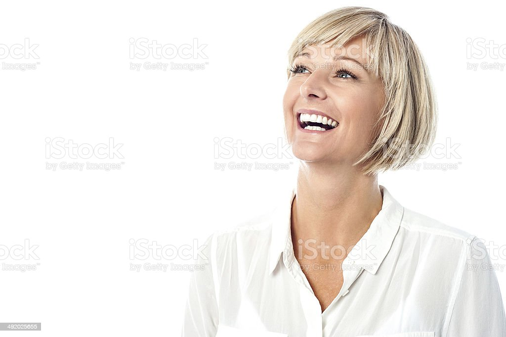 Corporate lady laughing heartily royalty-free stock photo