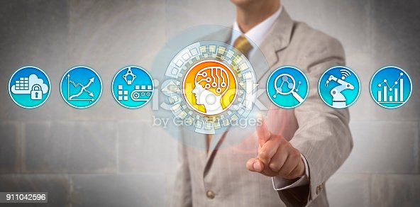 1049745706 istock photo Corporate Manager Assigning Logistics Tasks To AI 911042596