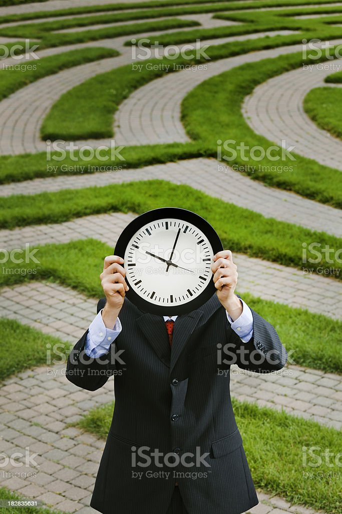 Corporate Maze- Business Problem Solving Working Against the Deadline Clock stock photo