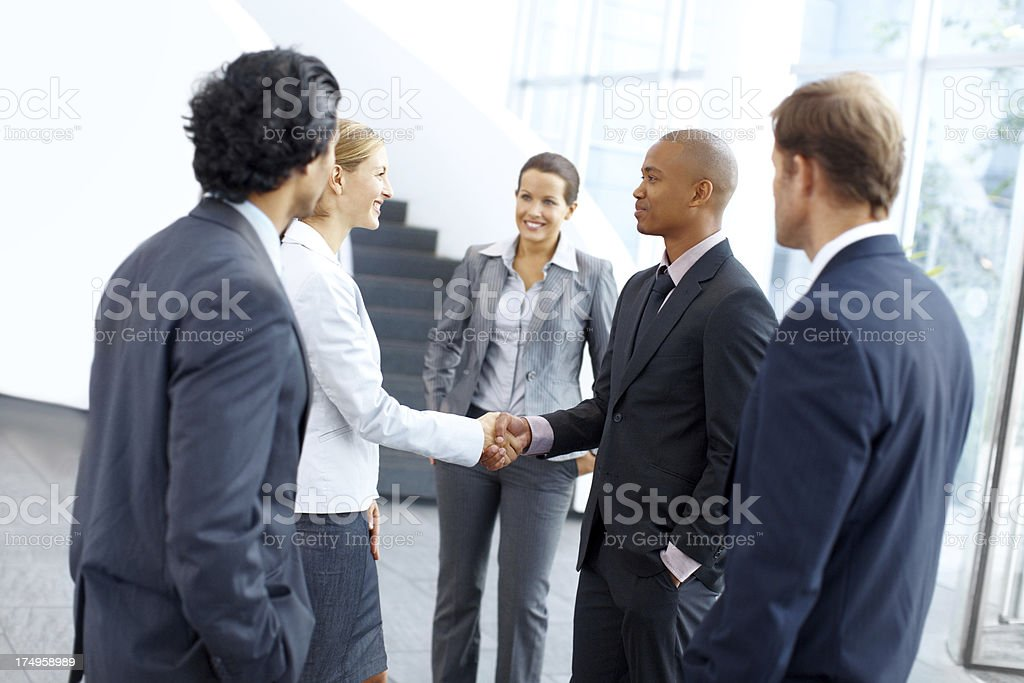 Corporate meet and greets royalty-free stock photo